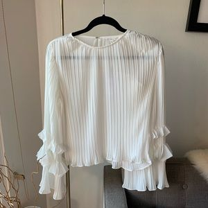 NWT Endless Rose Bell Sleeve Chiffon Top - White